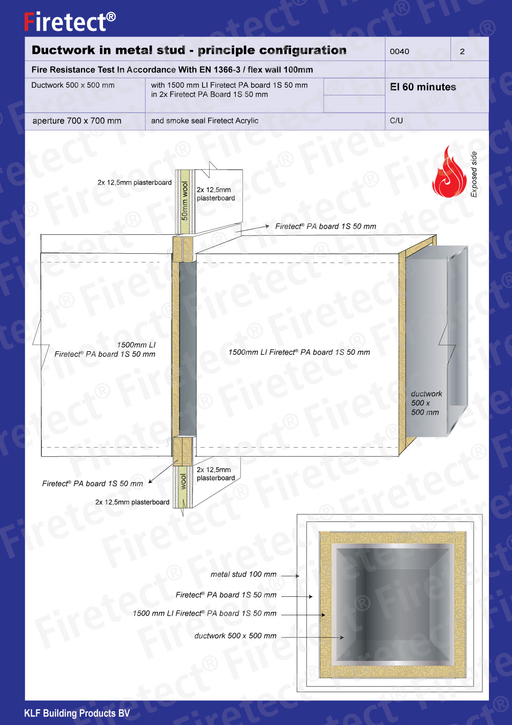 Fire resistant duct cladding 1 layer rockwool slab pa for Rockwool fire rating